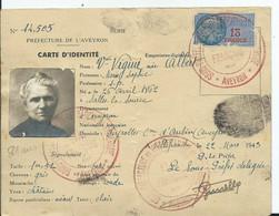 CARTE D IDENTITE- Prefecture De L'AVEYRON - Documentos Históricos