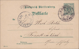 Bahnpost: Ganzsache Von Böblingen Nach Frankenthal Mit Bahnpoststempel 1895 - Non Classificati