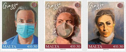 MALTA, 2021, HEALTH, COVID HEROES, NURSES, DOCTORS, HEALTHCARE WOTRKERS,3v - Sonstige