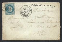 FRANCE Classique 1868: LSC De Brest Pour Paris, Obl. GC 611 - 1862 Napoléon III.