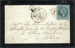 """FRANCE Classique 1869: LSC Du Havre Pour Paris, Obl. GC 1769, Marque De Facteur """"A Dans Un Cercle"""" - 1863-1870 Napoleone III Con Gli Allori"""
