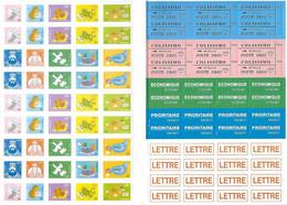 Planche A4 De Vignettes, étiquettes, Pictogrammes Autocollants - Colissimo Poste Dago Lettre Economique Colombe Canard - Posta