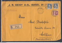 Recommandé Brief Van Basel 2 Riehenstrasse Naar Cottbus - Briefe U. Dokumente
