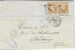 1856- Lettre Du HAVRE  Affr. Superbe Paire N°13  Annulé Pc 1495  - Très Joli Coloris - 1849-1876: Periodo Classico