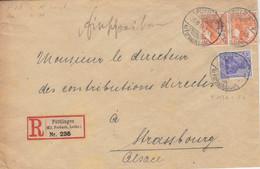 Lettre Recommandée Obl. Püttlingen Kr.Forbach (T148c) Sur TP Germania 7pf X 2, 20pf Le 30/11/18 (après L'armistice) - Elzas-Lotharingen