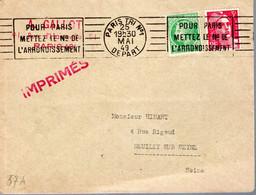 LETTRE 1949 - TARIF POUR IMPRIMES - AFFRANCHISSEMENT BICOLORE - PARIS TRI N° 1 DEPART - - Covers & Documents