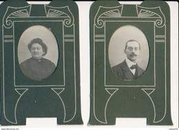 2 Petits Portraits (4 X 5 Cm) Avec Joli Encadrement En Carton Décoré (Ca 1900) - Old (before 1900)