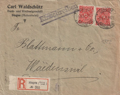 Allemagne Lettre Recommandée Singen Pour La Suisse 1922 - Lettres & Documents