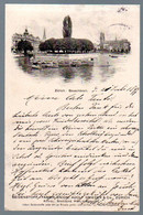 Alte Postkarte, Schweiz, ZÜRICH, Bauschänzli, Werbung Seidenstoff Fabrik Union Adolf Grieder & Cie.  Gelaufen 1897 - ZH Zurich
