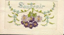 Jolie Carte Brodée Souvenir Fleur 1917 Marque Déposée JT - Gruss Aus.../ Gruesse Aus...