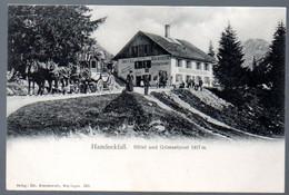 Alte Postkarte, Schweiz, Bern, HANDECKFALL, Hotel + Grimselpost Postkutsche, Ungebraucht - BE Berne