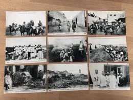 Lot De 33CP Neuves Conflit Maroc 1907 Bombardement Casablanca, Guerre, Soldats, Morts, Cadavres, Chevaux, Tirailleurs,.. - Altri