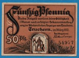 GERMANY Teuchern Stadt 50 PFENNIG 03/1921   Ref. # 1317.1a  NOTGELD - [11] Local Banknote Issues