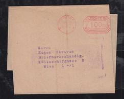 Deutsches Reich 1923 AFS 100000 Mark Meter Freistempler Streifband Pössneck 20.9.23 Nach Wien Austria - Covers & Documents