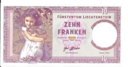 LIECHTENSTEIN 10 FRANCS 2019 UNC Specimen Private Issue - Liechtenstein