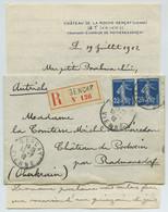 Recommandé 1912 Affranchi à 50 C Avec Paire De Type Semeuse. Gençay Pour Radmannsdorf (Radvoljica Slovénie Slovenja). - 1877-1920: Periodo Semi Moderno