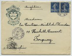 Lettre 1907 Illustrée Grand Hôtel De Tamaris-sur-Mer. Casino. Affranchissement 50 C Paire De Semeuse Pour Torquay. - 1877-1920: Periodo Semi Moderno