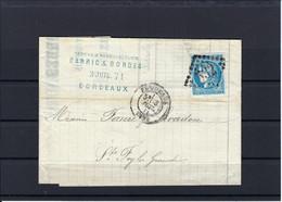 Frankreich EF Mi.41 Auf Brief Aus Bordeaux Nach St.Foyla Grande 1871 - 1870 Bordeaux Printing