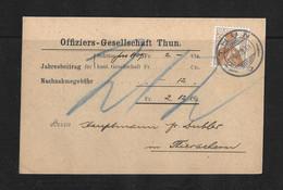 """1909 HEIMAT BERN → Nachnahme """"Offiziers-Gesellschaft"""" Thun Nach Thierachern - Covers & Documents"""