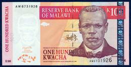 MALAWI 100 KWACHA P-46c Reverend John Chilembwe, Lake Malawi - Capital City Lilongwe 2003 UNC - Malawi