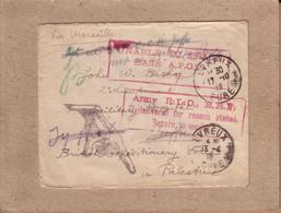 """EURE PALESTINE - LETTRE D' EVREUX POUR HÔPITAL DE JAFFA , GRIFFES """" UNABLE TO TRACE , UNDELIVRED , RETURN """" - 1918 - Oorlog 1914-18"""