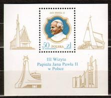 Poland 1987 Sheet Fi 2953 Third Visit Of Pope John Paul II To Poland MNH - Neufs