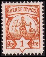ODENSE BYPOST. 1886. 1 ØRE. Hinged. (DAKA  12) - JF420135 - Lokale Uitgaven