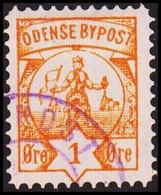 ODENSE BYPOST. 1886. 1 ØRE. Orange Yellow. (DAKA  12a) - JF420136 - Lokale Uitgaven