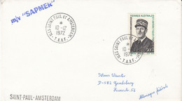 TAAF 1972 De Gaulle 1v Cover Ca Iles Saint Paul Et Amsterdam 10/12/1972 (52187) - Cartas