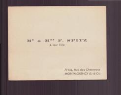 "Carte De Visite "" Mr & Mme Spitz "" à Montmorency - Cartoncini Da Visita"