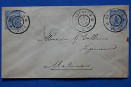 T15 PAYS BAS BELLE LETTRE   1896 PETIT BUREAU DEVENTER A MALINES  +AFFRANCHISSEMENT PLAISANT - Brieven En Documenten