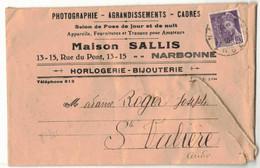 TYPE MERCURE SUR ENVELOPPE PUBLICITAIRE PUBLICITE SALLIS NARBONNE PHOTOGRAPHE CADRES HORLOGERIE BIJOUTERIE STE VALIERE - 1877-1920: Semi Modern Period