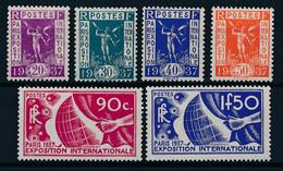 France N° 322/327** Expo De Paris 1936 - Nuevos