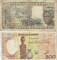 DEUX BILLETS ANCIENS - Gabon