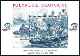 POLYNESIE 1984 - Yv. BF 9 (PA 182) **   Cote= 8,50 EUR - Expo Phil. Espana'84  ..Réf.POL25637 - Blocchi & Foglietti