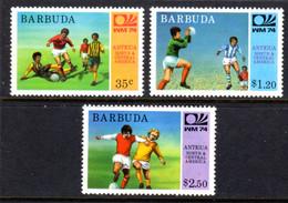 BARBUDA - 1974 WORLD CUP FOOTBALL SET 1ST ISSUE (3V) FINE MNH ** SG 168-170 - Barbuda (...-1981)