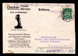 DR - Postkarte BUNZLAU - Hannover - 15.1.38 - Mi.356 - Dackel-Pinsel, Bürsten - Covers & Documents