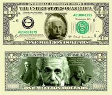 USA 1 Million Dollar Novelty Banknote 'Albert Einstein' - International Legend Series - NEW - UNCIRCULATED & CRISP - Other - America