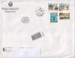 """San Marino 2001 - FDC Ufficiale Viaggiata """"Arte E Natura + Dialogo Tra Civiltà + SUMS"""" 1v + 1v + 2v - FDC"""