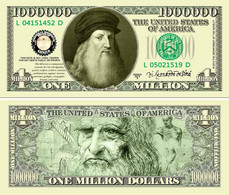 USA 1 Million Dollar Novelty Banknote 'Leonardo Da Vinci' - International Legend Series - NEW - UNCIRCULATED & CRISP - Other - America