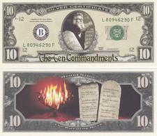 USA 10 US Dollar Novelty Banknote  'Ten Commandments - Moses' (C. Heston)  - History Series - NEW - UNCIRCULATED & CRISP - Other - America