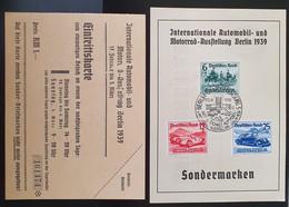 Deutsches Reich 1939, Gedenkblatt FDC Mi 686-88 Mit Eintrittskarte - Brieven En Documenten