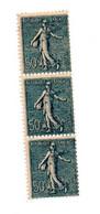 FRANCE N° 161 50C BLEU TYPE SEMEUSE LIGNEE PETIT DECALAGE DE PIQUAGE BANDE DE 3 NEUF SANS CHARNIERE - Curiosities: 1900-20 Mint/hinged