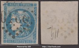 20c Bordeaux Bleu Clair Type II Report 3 TB (Y&T N° 45Cd, Cote 70€) - 1870 Emissione Di Bordeaux
