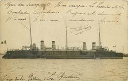 CARTE PHOTO - BATEAU - MILITARIA GUERRE LA ROCHELLE 17 CHARENTE MARITIME LA PALLICE PORT COMMERCE LE GUICHEN Croiseur - La Rochelle