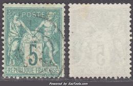 5c Sage Type I (N/B) Oblitéré Aspect TB (Y&T N° 64, Cote  60€) - 1876-1878 Sage (Type I)