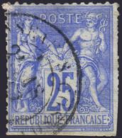 25c Sage Outremer Type I (N/B) 2nd Choix  (Y&T N° 68, Cote  80€) - 1876-1878 Sage (Tipo I)