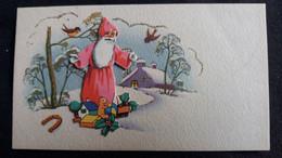 CARTE DE VOEUX PERE NOEL CADEAUX OISEAUX FER A CHEVAL NEIGE RELIEF SURIMPRESSION FORMAT 6.5 PAR 11.5 CM - Santa Claus