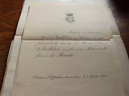 I38 Invitation Mariage Victor De Guillebon Jeanne De Méautis Chateau D Offrethun Pas De Calais 1883 - Hochzeit