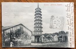 CHINA - CANTON - CHINESE PAGODA-annulli : CANTON + SHANG-HAI /CHINE 21 MARS 04 + LONDON + HOTEL ANGLO-AMERICANO FLORENCE - Dampfer